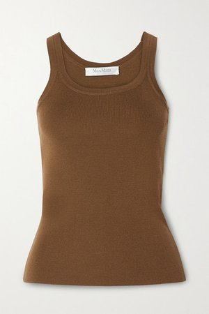 Gallo Ribbed Wool Tank - Brown
