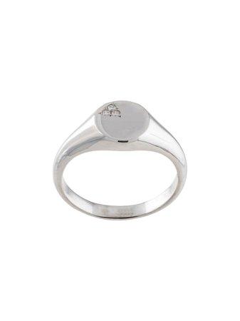 Silver Natalie Marie 9kt White Gold Nami Diamond Signet Ring | Farfetch.com