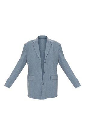 Grey Premium Woven Shoulder Padded Grandad Blazer   PrettyLittleThing USA