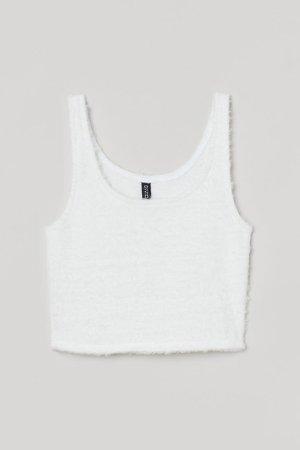 Cropped Tank Top - White