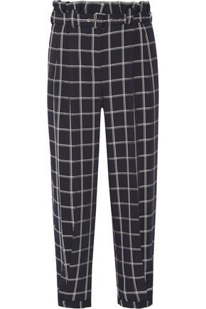 Woman Fritz Cropped Checked Crepe Tapered Pants Navy