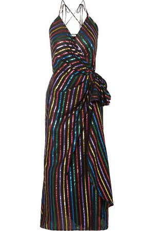 Attico | Metallic striped jacquard wrap dress | NET-A-PORTER.COM