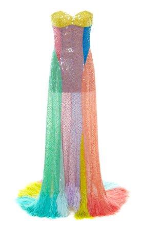 Feather-Trim Multi-Toned Sequin Gown by Attico   Moda Operandi
