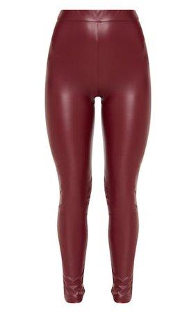 Maroon Faux Leather Legging | PrettyLittleThing