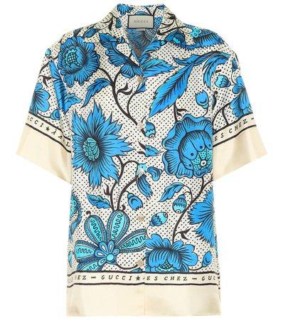 Printed Silk Twill Shirt | Gucci - mytheresa