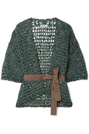 Brunello Cucinelli | Belted sequin-embellished open-knit cardigan | NET-A-PORTER.COM