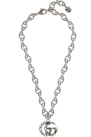 Gucci | Oxidized silver-tone crystal necklace | NET-A-PORTER.COM