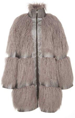 Embossed Trimmed Faux Fur Coat