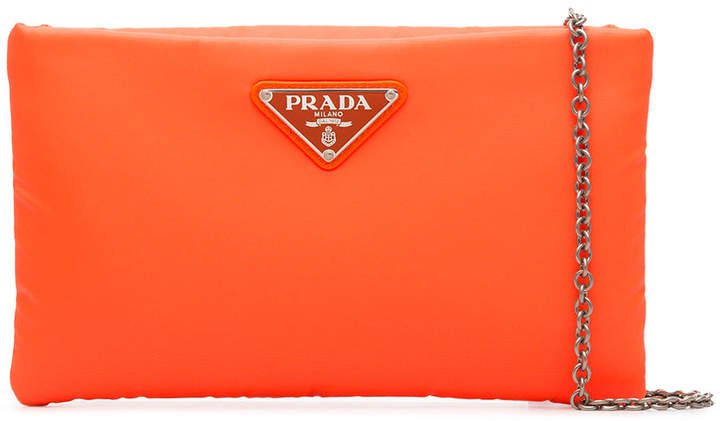 fluorescent orange clutch bag with chain