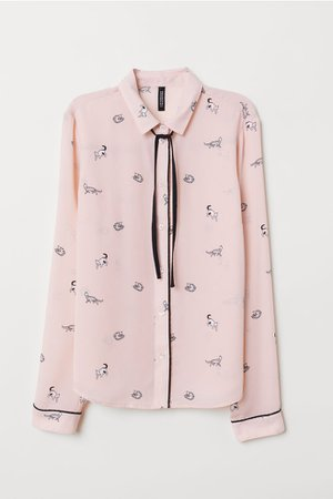 Blouse with Ties - Light pink/cats - Ladies | H&M US