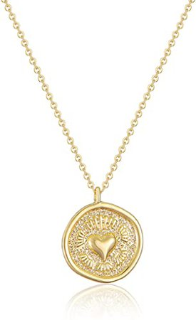 Dainty Medallion Necklace 14K Gold Filled (Heart-disc): Jewelry