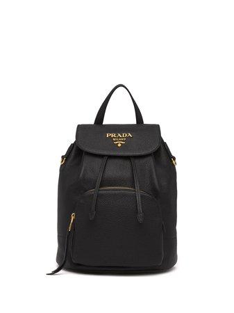 Prada Pebbled Leather Backpack - Farfetch