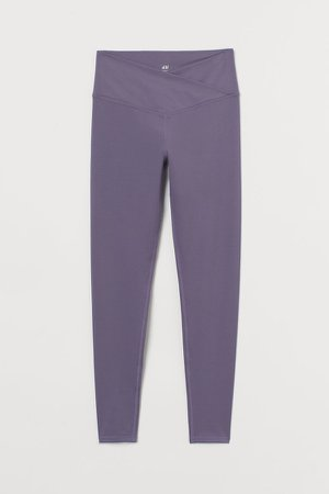 Wrapover-waist Sports Leggings - Purple