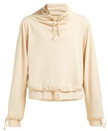 Layered Cotton Jersey Sweatshirt - Womens - Beige