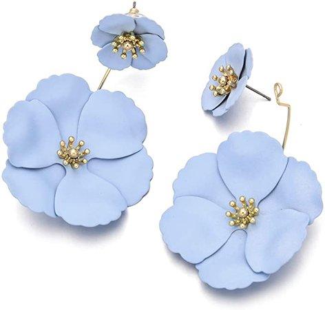 Metal Poppy Flower Dangle Earring- Matte Painted Dual Flower Floral Petal Tiered Drop for Women