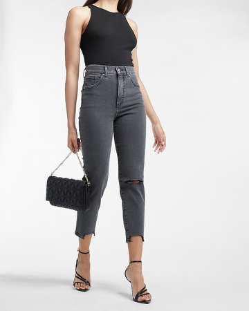 Super High Waisted Black Ripped Raw Hem Mom Jeans