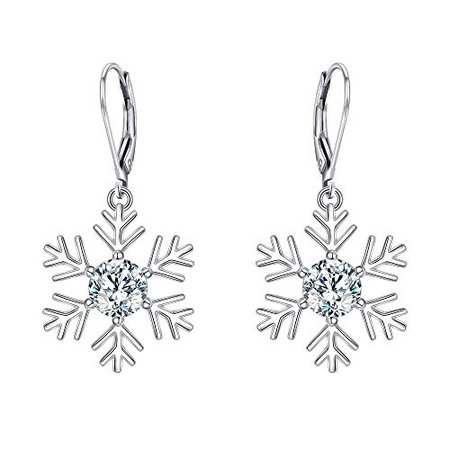 Amazon.com: Cosol Silver Snowflake Dangle Earrings, CZ 925 Sterling Silver Leverback for Winter Party: Clothing