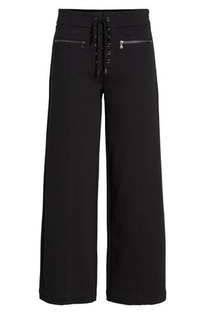 PAIGE Nellie Lace-Up High Waist Culotte Jeans | Nordstrom