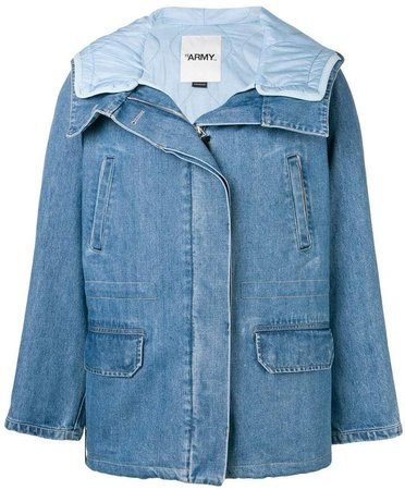 denim padded coat