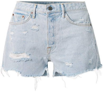Helena Distressed Denim Shorts - Light denim