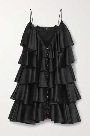Black Tiered ruffled silk-satin mini dress   Balmain   NET-A-PORTER