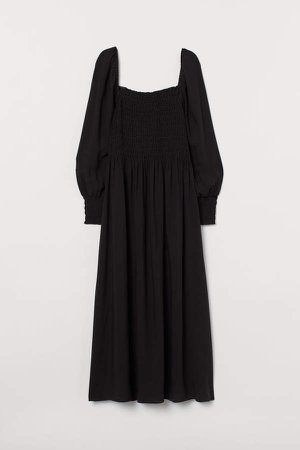 Smock-detail Dress - Black