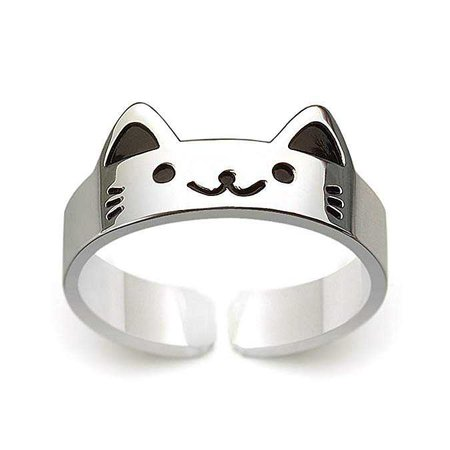 Amazon.com: HANFLY Cat ring 925 Sterling silver Cute kitty ring Fashion Jewelry Adjustable Size(US6.5): Clothing
