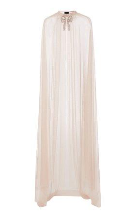 Embellished Bow Tulle Maxi Cape by Needle & Thread | Moda Operandi