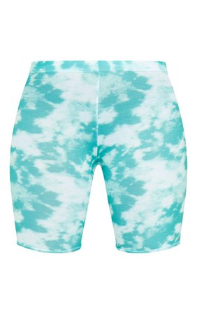 Basic Green Tie Dye Bike Shorts - New In This Week - New In | PrettyLittleThing USA