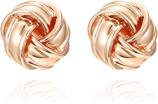 Amazon.com: PAVOI 14K Rose Gold Plated Sterling Silver Post Love Knot Stud Earrings | Gold Earrings for Women: Jewelry