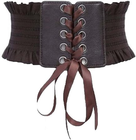 Womens Adjustable Elastic Leather Lace-up Wide Waist Belt Cinch Corset Waistband (Coffee) at Amazon Women's Clothing store