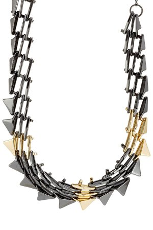 Mixed Metal Spike Necklace Gr. One Size