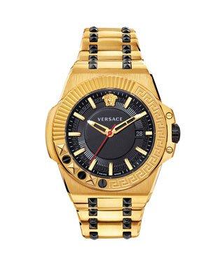 Versace Men's 43mm Palazzo Empire Watch, Black/Yellow Gold | Neiman Marcus