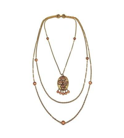 Goldette Amber Crystal Long Multi Strand Necklace Vintage | Etsy