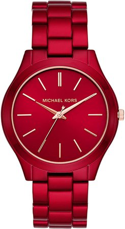 Michael Kors Women's Slim Runway Quartz Watch with Stainless-Steel-Plated Strap, red, 20 (Model: MK3895): Watches