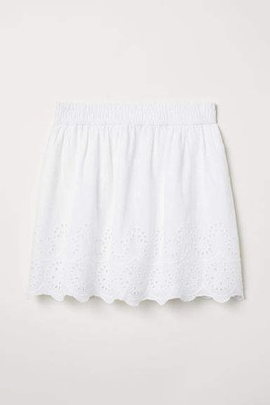 Skirt with Embroidery - White