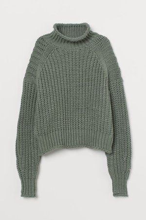 Ribbed Turtleneck Sweater - Khaki green - Ladies | H&M US
