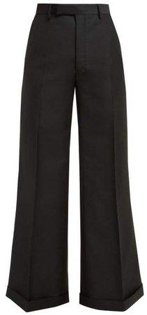 Flared Wool Blend Trousers - Womens - Black