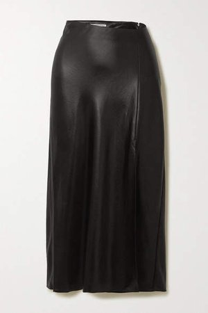 Wash And Go Asymmetric Satin Midi Skirt - Black
