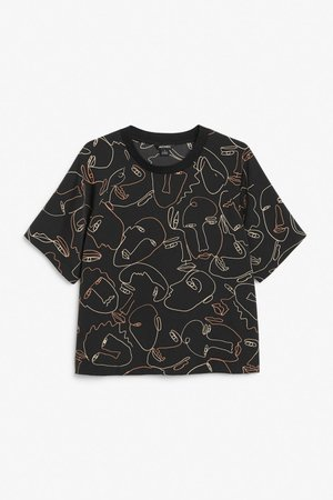 Crewneck blouse - Black with illustrated faces - Shirts & Blouses - Monki WW