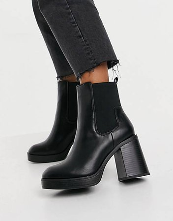Public Desire Wide Fit Klara chunky heeled ankle boots in black | ASOS