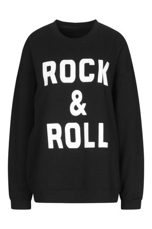 ROCK & ROLL SLOGAN SWEAT | boohoo
