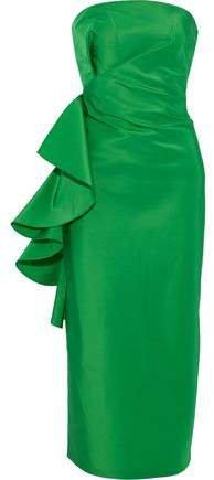 Esma Strapless Ruffled Silk Duchese Satin-twill Midi Dress