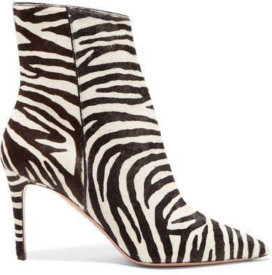 Alma 85 Zebra-print Calf Hair Ankle Boots - Zebra print