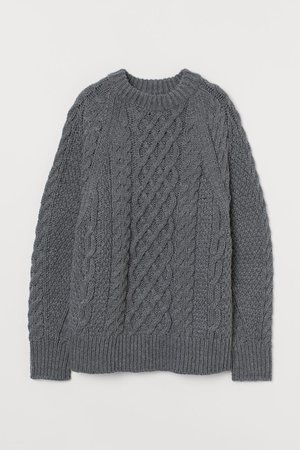 Cable-knit Sweater - Dark gray melange - Ladies | H&M US