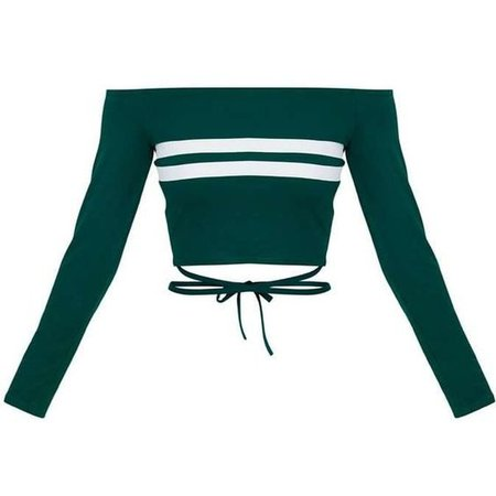 Bardot Emerald Green Bardot Stripe Harness Detail Crop Top | ShopLook