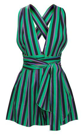 Green Stripe Tie Back Romper | PrettyLittleThing USA