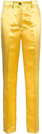 high waist satin trousers