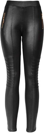 KMystic Sexy Faux Leather Designs Leggings (Small/Medium, Biker) at Amazon Women's Clothing store