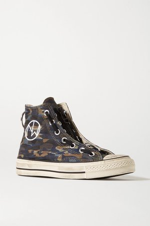 Converse | + Undercover Chuck Taylor All Star 70 embellished camouflage-print canvas high-top sneakers | NET-A-PORTER.COM